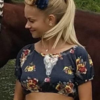Southwestern - boho - skull - boho - chic - floral - Peasant  - blouse - off - the - shoulder - midriff - cutoff -  Pinup - rockabilly - top
