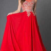 Jewel Embellished Floor Length Sleeveless Prom Dress with Sheer Back