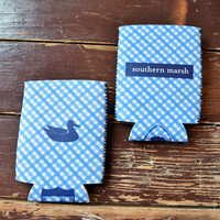 Southern Marsh - Plaid Koozie - Blue & White ~ – The Pink Leopard