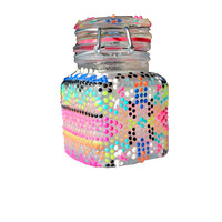 Glow in the Dark, Aztec, Pink, Orange, Yellow, Green, Blue, Black, White, Hand-Painted, Glass Stash Jar