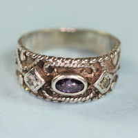 Sterling Ring with Glass Amethyst and Crystals Raised Design