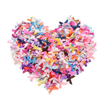 500Pcs H made DIY Pre Tied Satin Ribbon Gift Package Bow Wedding Scrapbooking Embellishment Crafts Accessory SM6