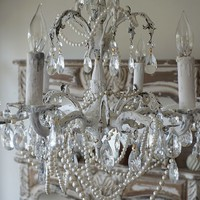 White crystal chandelier lighting fixture shabby cottage chic embellished pearl necklaces
