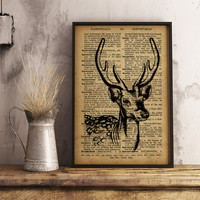 Deer Antlers Stag Print Wall Art Office Decor Dictionary Art Print Home Decor Gift for him Animal Lovers Gift   A24