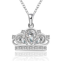 Princess Crown Necklace in 18K White Gold Plated