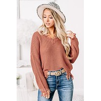 Keep Falling For It Frayed Knit Sweater | Terra Cotta