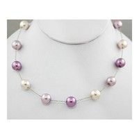 Lavender, Lilac and White Colored Faux Pearl Necklace with Silver Chain - Purple Bridesmaid Jewelry