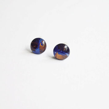 10 mm small handpainted stud earrings, blue, copper, gold