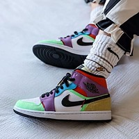 """Air Jordan 1 Mid SE """"Lightbulb"""" color stitching sneakers basketball shoes"""