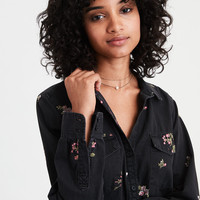 AE Embroidered Denim Button Up Shirt, Black