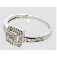 .925 Sterling Silver Square Diamond Ring - .20TCW, Size 7.25