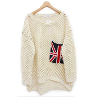 Beige Cut Loose Flag Long Sleeve Pullover Sweater