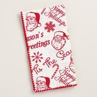 Santa and Holiday Greetings Napkins, Set of 4
