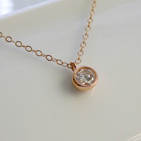 Rose Gold CZ Necklace Man Made Diamond Necklace Rose Gold filled Jewelry