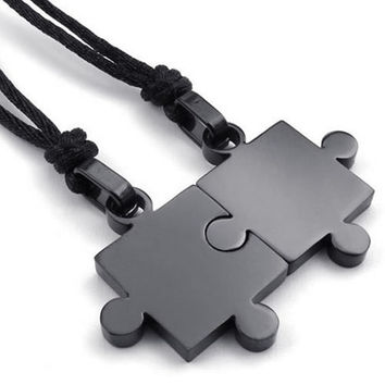 Fashion Jewelry 2pcs Lovers Mens Womens Puzzle Stainless Steel Pendant Love Necklace Set, Couples Valentine's Gift for Him and Her,  Color Black, with 20-22 inch Rope Chain (Size: 2.8 cm, Color: Black) (With Thanksgiving&Christmas Gift Box)= 1930218372
