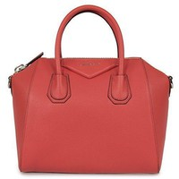 Ready Stock Givenchy Women's Antigona Sugar Goatskin Leather Satchel Bag Sunset Red #609