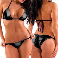 Black Metallic Triangle Top & Side Tie Scrunch Bottom Swimsuit (Many Colors Available)