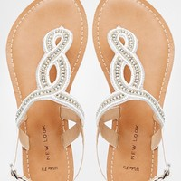 New Look Wide Fit Flush White Loop Flat Sandals