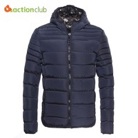 ACTIONCLUB Winter Mens Reversible Down Jacket Men Camouflage Hooded Zipper Windproof Warm Coat 2017 Male Large Size Outwear