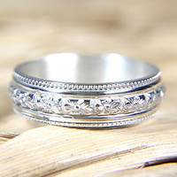Flower & Milgrain Engraved Wedding Band - Vintage Style Eco Friendly Sterling Silver - Recycled Silver Floral Band