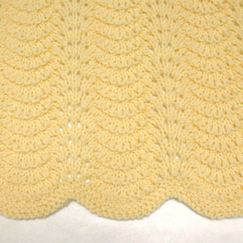Yellow Baby Blanket Knit Baby Blanket Hand Knitted Baby Afghan
