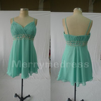Beads Sequins Ruffled V-Neck Spaghetti Straps Short Bridesmaid Celebrity Dress, Chiffon Formal Evening Party Prom Dress New Homecoming Dress