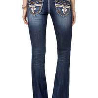 Rock Revival Bootcut Dark Wash Jean With Orange Trim
