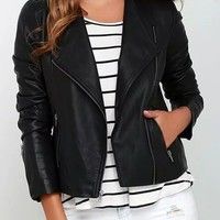 Black Lapel Biker Jacket