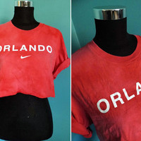Nike Cropped Top with a Light Acid Wash 90's Grunge Orland Retro Sports Raw Cut Crop Top