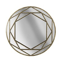 "Metal Frame 32"" Wall Mirror, Gold, Wb"