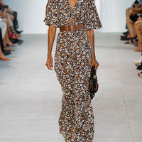 Michael Kors Floral Palazzo Jumpsuit, Brown Pattern