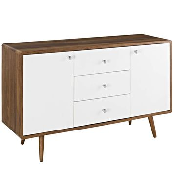 Transmit Mid-Century Style Sideboard Walnut / White Lacquer