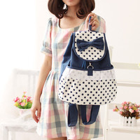 Cute Polka Dots College Style Backpack Laptop Bag Travel Bag