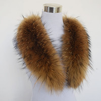 Natural 100% Raccoon Fur Collar 80cm Large Genuine Collar Fur Scarf Shawl for Winter Coats Clothing Accessories Real Raccoon Fur