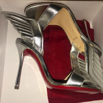 Christian Louboutin SAMOTRESSE Wing Leather Heels Sandals Shoes Silver $895