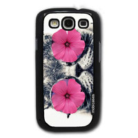 Hipster Cat Funny Pink Flower Eyes - Protective Designer BLACK Case - Fits Samsung Galaxy S3 SIII i9300