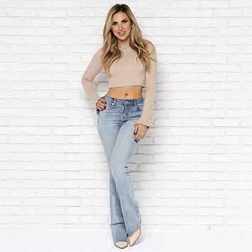 Taryn Flare Light Wash Denim Pants