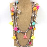 2016 New Bohemia Boho long beaded Necklaces colorful tassel pendants layered long necklace Multi-Layer statement Necklaces