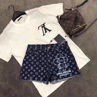 """Louis Vutitton"" Women Casual Fashion Letter Logo Print Short Sleeve T-shirt Mascot Pattern Denim Shorts Set Two-Piece"