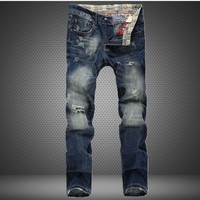 Ripped Holes Slim Pants Jeans [6541745219]