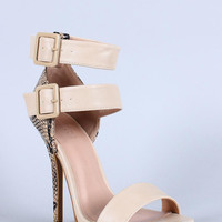 Wild Diva Lounge Snake Ankle Strap Open Toe Heel Color: Natural Snake, Size: 6