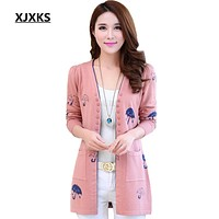 XJXKS Cardigan Women Knitted sweater Fashion Long-sleeve Tops Women Long Cardigans Spring and Autumn cute umbrella Sweaters
