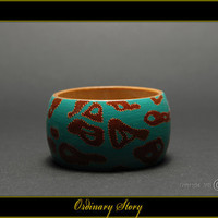 Ordinary Story - Handpainted Wooden Bracelet - G2BR00019 - on Etsy by MATILDA