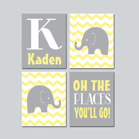 ELEPHANT Wall Art CANVAS or Prints Baby Boy Nursery Elephant Wall Art Yellow Gray Boy Elephant Nursery Bedroom Chevron Oh The Place Set of 4