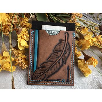 Ready to Ship Feather Tooled Leather Wallet - Business Card Holder