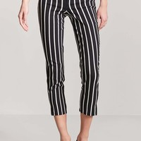 Stripe High-Rise Ankle Pants