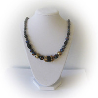 Vintage Cloisonne, Gold Plated and Polished Black Glass Bead Necklace
