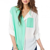 Colorblock Alfie Blouse in Mint - ShopSosie.com