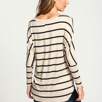 TAUPE STRIPED DOLMAN JERSEY TEE