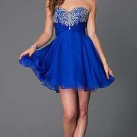 Short Strapless Sweetheart Alyce Dress with Jewel Embellished Bodice